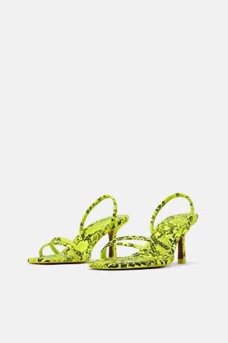 12 prendas low cost verde flúor | sandalias flúor animal print de Zara